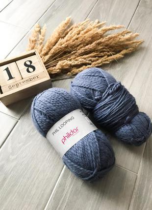 Сині нитки пряжа для в'язання вязания