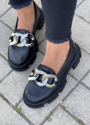 Рр 36-40.чëрные туфли лоферы  из натуральной кожи