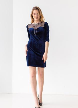 Платье женское короткое, мини, велюр, вечернее, синее, 42, 44, 46, 48