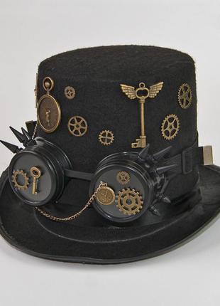 Очень эффектная черная шляпа цилиндр стимпанк очки гогглы можно носить отдельно  + подарок