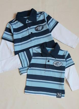 """Голубая в полоску плотная рубашка поло""""topolino"""" германия на 1 и 3 года (74 и 98см)"""