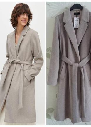 Пальто-халат серо-бежевого цвета
