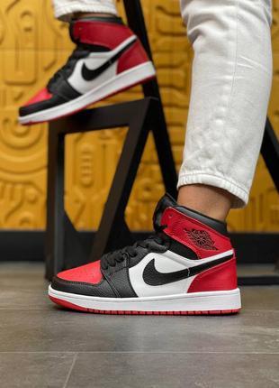 Женские кожаные красные с черным высокие кроссовки nike air jordan 1🆕найк аир джордан