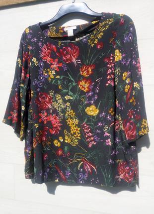 Блуза h&m тёмно серая чёрная разноцветная яркий цветочный принт вискоза