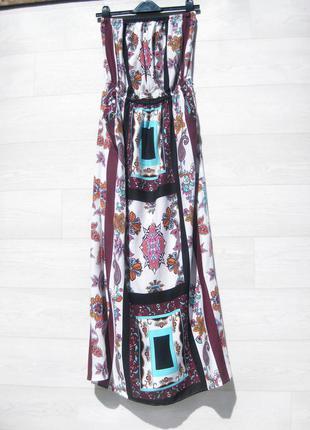 Платье atmosphere длинное с карманами на резинке белое разноцветное принт