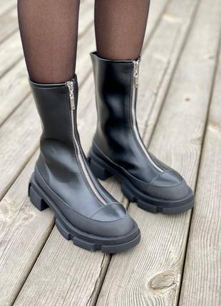 🍂 демисезонные женские ботинки both x lost general zipped leather black