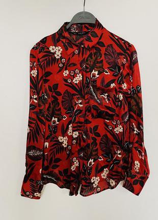 Шикарная блуза рубашка zara с цветочным принтом
