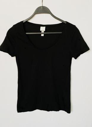 Чёрная базовая футболка из хлопка h&m