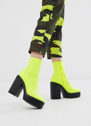 Неоновые ботильоны ботинки из неопрена асос asos