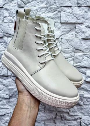 Деми/зима хайтопы, ботинки на платформе натуральная кожа