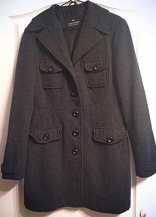 Новое шерстяное пальто-бушлат clockhouse!