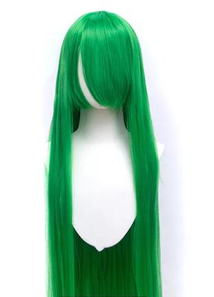 Парик зелёный, длинный с челкой, для фотосессии, косплей, аниме, хэллоуин