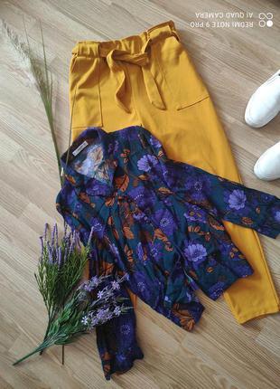 Костюм комплект штаны с высокой посадкой и поясом и блуза
