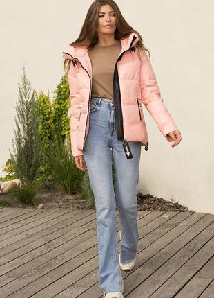 Зимняя куртка персикового цвета- наполнитель биопух