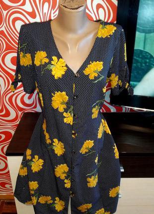 Стильное платье/трапеция,в горошек,цветы,