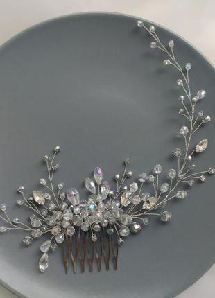 Свадебное украшение в прическу вечернее украшение в волосы серебристый гребень свадебный