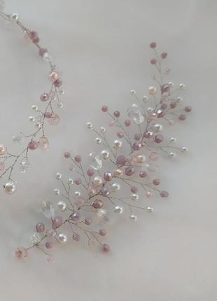 Свадебное украшение в прическу веточка в волосы