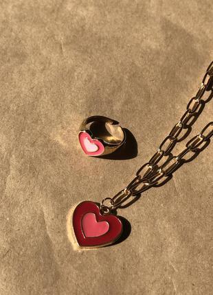 Набор - подвеска и кольцо печатка с сердцем