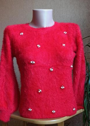 Подросковый свитер травка альпака красный и голубой  до 42 р на рост до 155 см