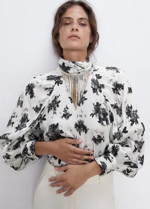 """Блуза сатиновая с объемными рукавами """"zara"""""""