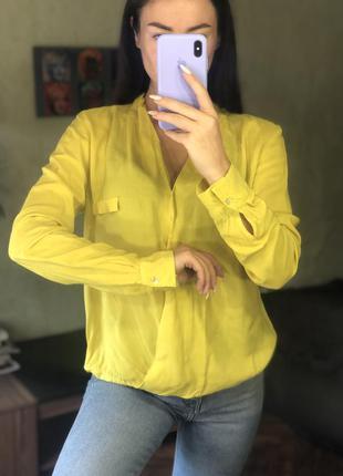 Желтая блуза zara