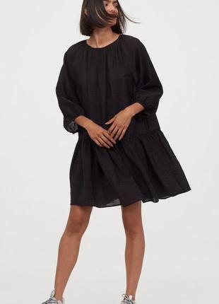 Черное платье мини из вискозы оверсайз плаття чорне міні