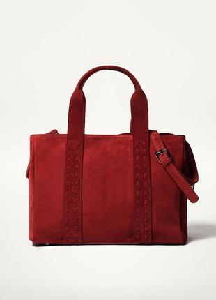 Кожаная сумка massimo dutti / шкіряна замшева сумка