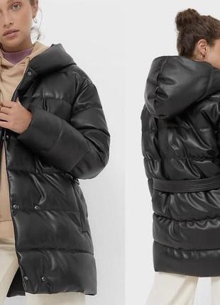 Тёплая куртка stradivarius из искусственной кожи