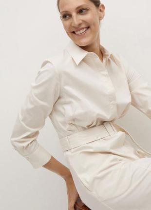 Белое платье рубашка мини с ремешком манго mango
