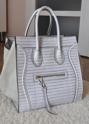 Кожаная сумка тоут италия / шкіряна сумка в стилі celine