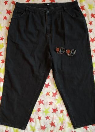 Базовые укороченые джинсы,слоучи, высокая посадка, стильные,denim, графитовые