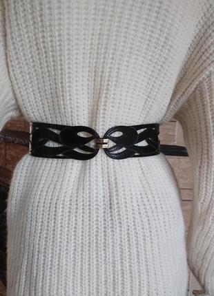Reiss черный женский кожаный пояс с узором размер xs/s