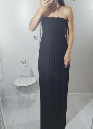 Чёрное макси платье длинное резинка boohoo