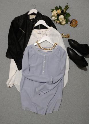Натуральная блуза в офис полоска 100%хлопок