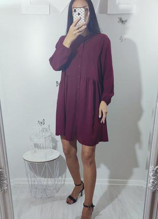Марсала бордовое свободное платье made in italy