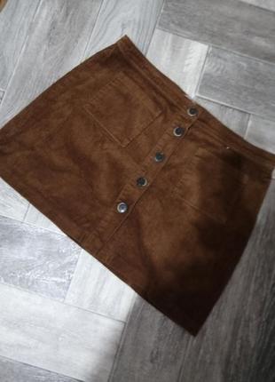 Натуральная юбка на пуговицах вельветовая