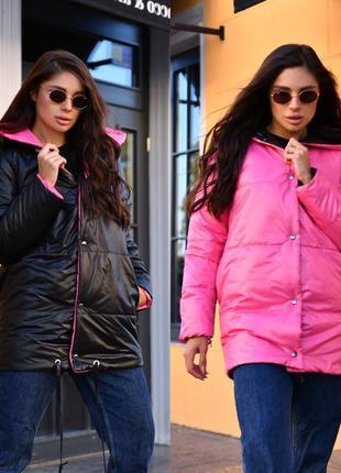 Куртка на синтепоне удлиненная двусторонняя 3 цвета