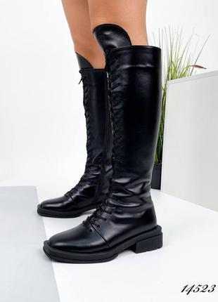 Кожаные сапоги чёрные на байке стильные трендовые