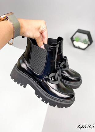 Кожаные ботинки люкс качество чёрные стильные на байке челси