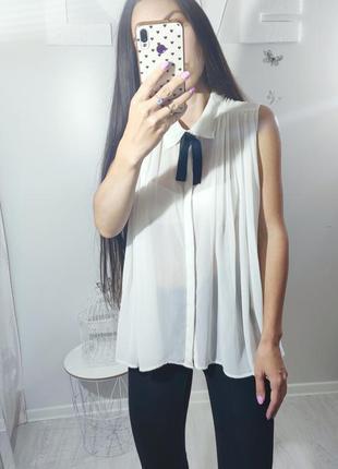 Блуза рубашка белая шифоновая полупрозрачная с воротником