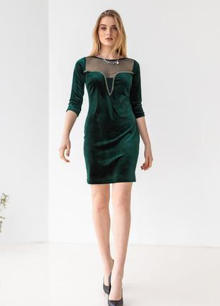 Платье женское короткое, мини, велюр, вечернее, зеленое, 42, 44, 46, 48