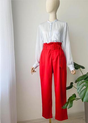 Класичні червоні брюки з завищеною талією h&m  брюки с высокой талией штаны