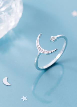 Кольцо серебряное звезда+месяц с камнями, серебро 925 пробы