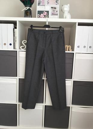 Базовые серые брюки зауженные к низу в составе шерсть размер 42-xl