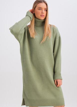 Теплое шерстяное вязаное платье оверсайз свободного кроя размер 44-48 (5001)