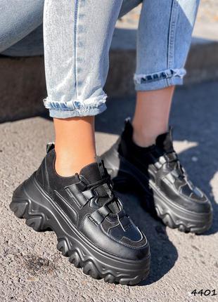 Кроссовки женские shine черные эко-кожа + эко-замша кросівки жіночі чорні еко-шкіра + еко-замша