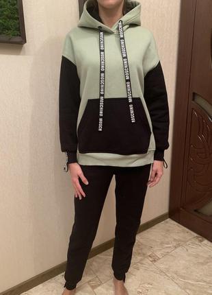 Костюм спортивный на флисе, тёплый спортивный костюм, худи и джогеры