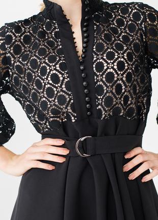 Платье женское короткое, мини, черное, с длинным рукавом, нарядное, кружево, 40 ,42, 44, 46
