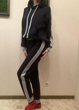 Костюм спортивный на флисе, тёплый спортивный костюм, худи и джогеры, костюм теплий