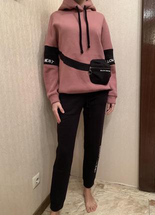 Спортивный костюм на флисе, тёплый спортивный костюм, худи и джогеры